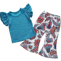2pcs Girls Kids Clothes Set Lace Ruffle Sleeve T-shirt Flare Trousers/1-2T