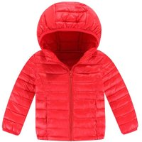 Basic Winter Hooded Jacket Kids Long Sleeve Down Coat Outerwear (Red 8-9Y)